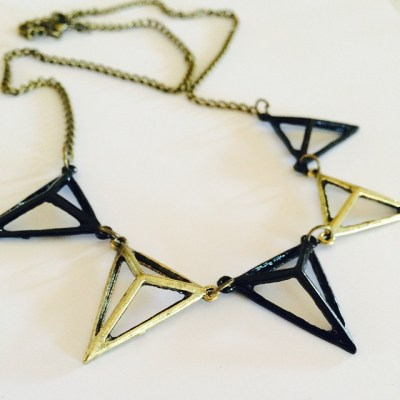 Black and bronze pyramid necklace