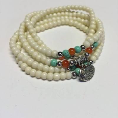 White stretch bracelet necklace