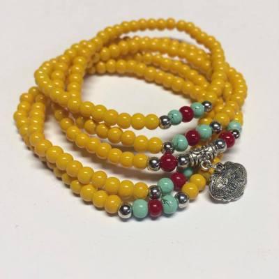 Yellow stretch bracelet necklace