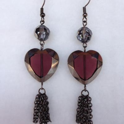 Dark aubergine heart earrings