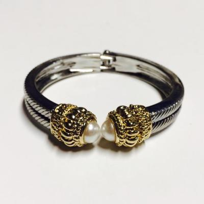 Double pearl and silver and gold bangle