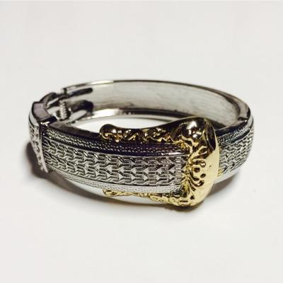 Silver and gold belt style bangle