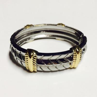 Silver and gold chevron style bangle