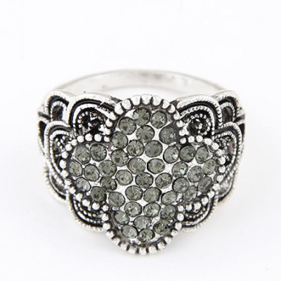 Silver and grey gem ring