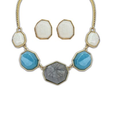 Grey tone and blue resin gem necklace with matching earrings