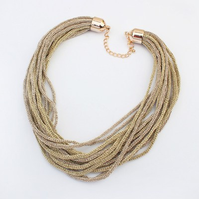 Knitted metallic cord necklace in matte gold tones