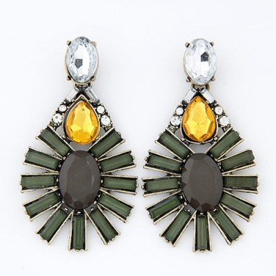 Olive green yellow and black gem chandelier earrings