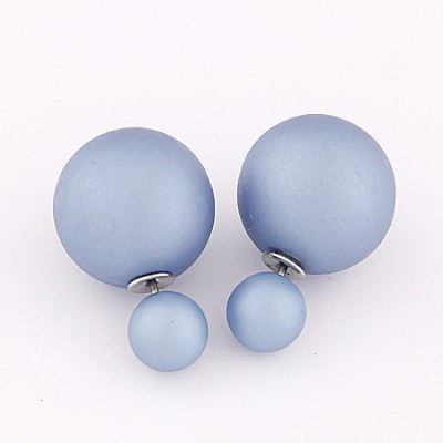 Reverse ball earrings in dusty cornflour blue