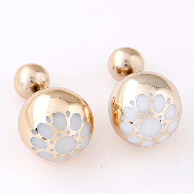 Reverse ball earrings with floral pattern in gold