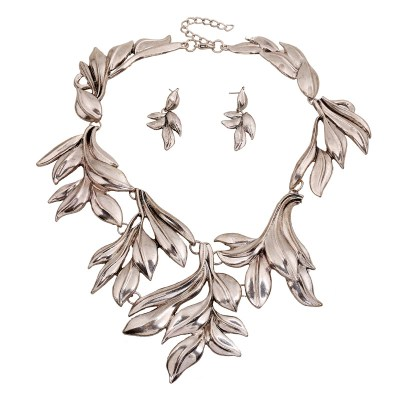 Pewter coloured leaf and vine style statement necklace and earring set