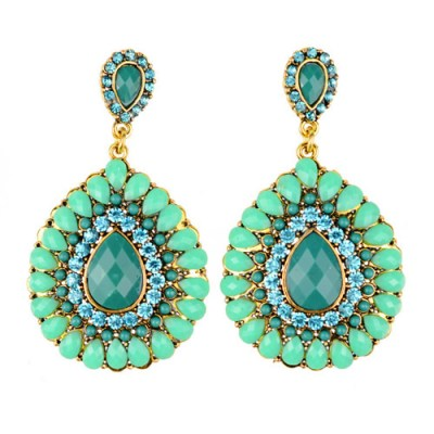 empayah exclusive teal and rhinestone earrings