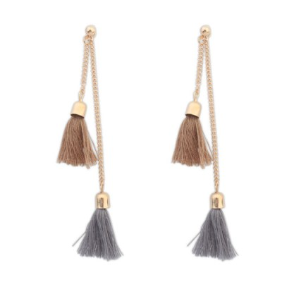 Gold long double chain double tassel earrings in taupe and grey