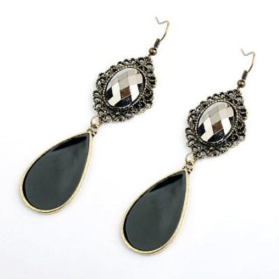 Vintage style black and brozed gem chandelier tear drop earrings