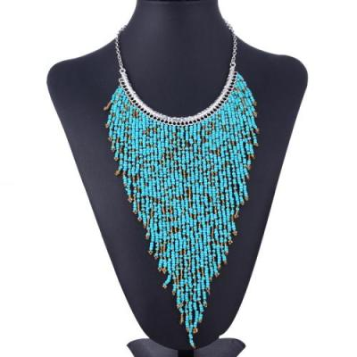 Boho long fringe turquoise and gold bead necklace in silver