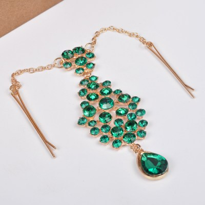 Bright green and gold gem hair accessory
