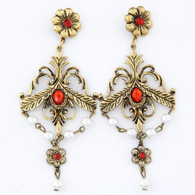 Gabriella floral chandelier earrings in antique gold with red gems and natural pearls