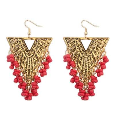 Ivana boho gold triangle earrings in red