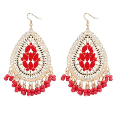 Juba bohemian red and gold chandelier earring