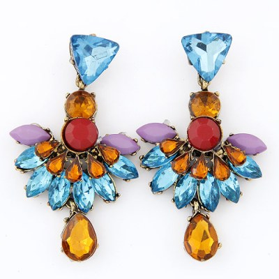 Oversized amber and blue chandelier earrings