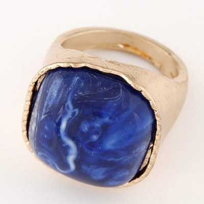 Leah square gold ring with blue stone