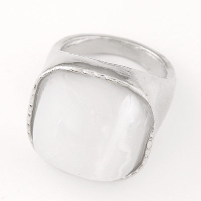 Leah square silver ring with white stone