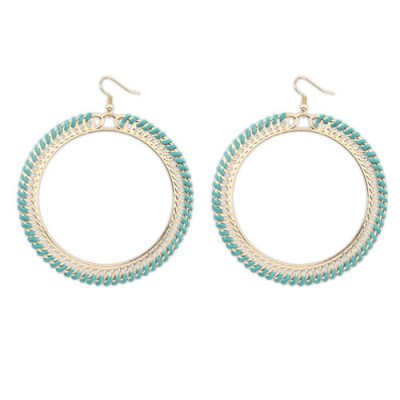 Oversized boho hoop circle earrings in gold and teal
