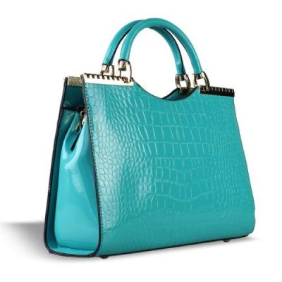 Faux croc handbag style 1in teal blue