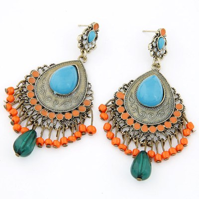 Navaho boho statement earrings in blue, khaki, antique gold and orange