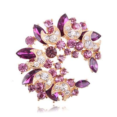 Jewel encrusted brooch in purple