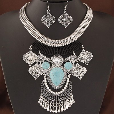 Sanaa tribal set silver and turquoise