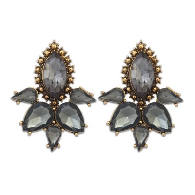 Clementine gem stud earrings in smokey grey