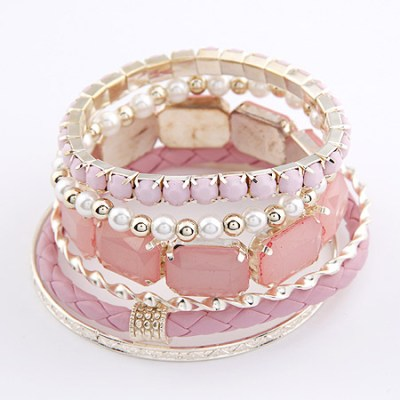 Gem leather and pearl bracelet set in pale pink