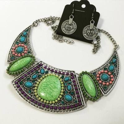 Mikula necklace earring set in silver and multicolour