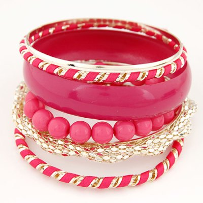 Set of 7 hot pink and gold bangles and bracelets
