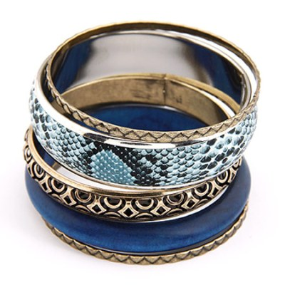 Snakeskin bangle set in dark teal green