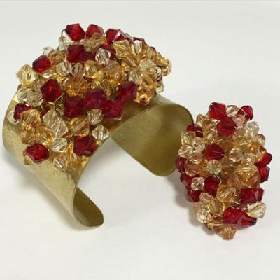 Cualli Red amber and clear beaded cuff with matching ring