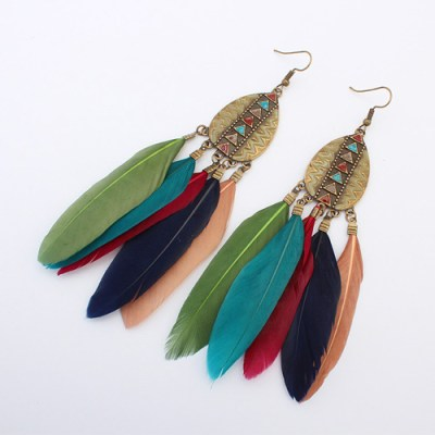Aztec feather earring multicolour