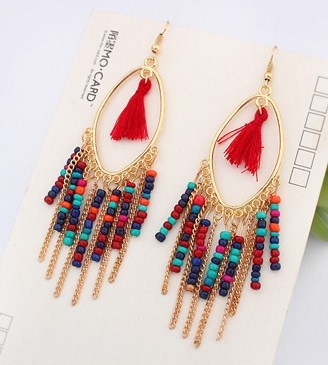 Bohemian beaded tassel earrings pastel1 (3)