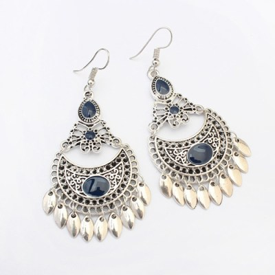 Silver crescent boho earring navy