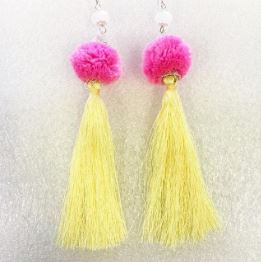 Handmade XL hot pink pompom lemon tassel earrings