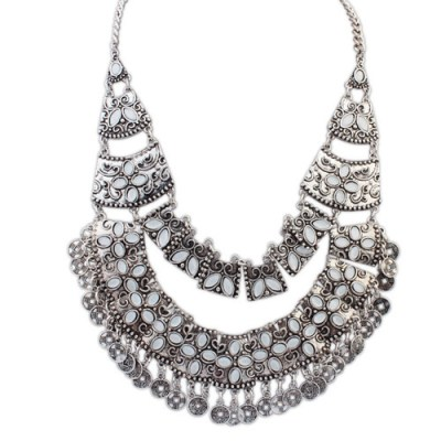 Zaire tribal necklace silver