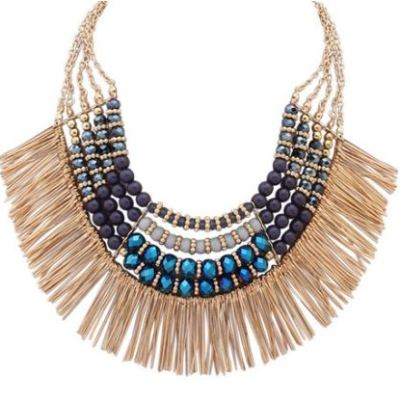 Zendaya necklace grey blue