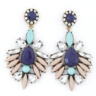 Elina statement earrings blue pink