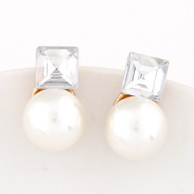 Martini gem pearl earrings