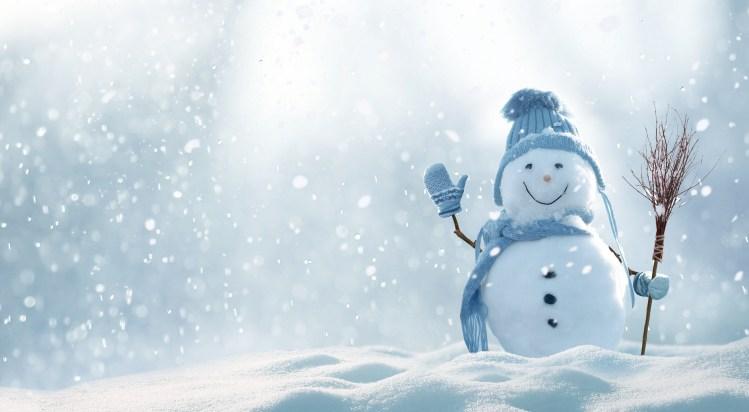 a snowman waving