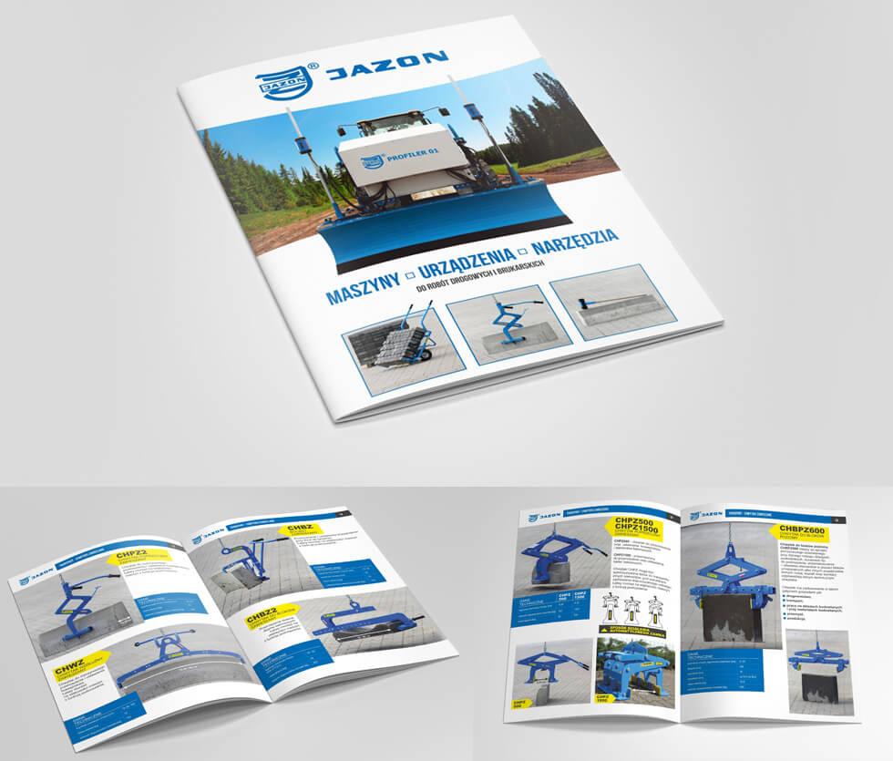 Jazon Jazon to Białostocka firma działająca od 1984r. Jej główny profil działalności to produkcja maszyn i urządzeń do różnych typów zastosowań, od budownictwa po poligrafię. Katalog prezentuje ofertę maszyn, urządzeń i narzędzi do robót drogowych i brukarskich.