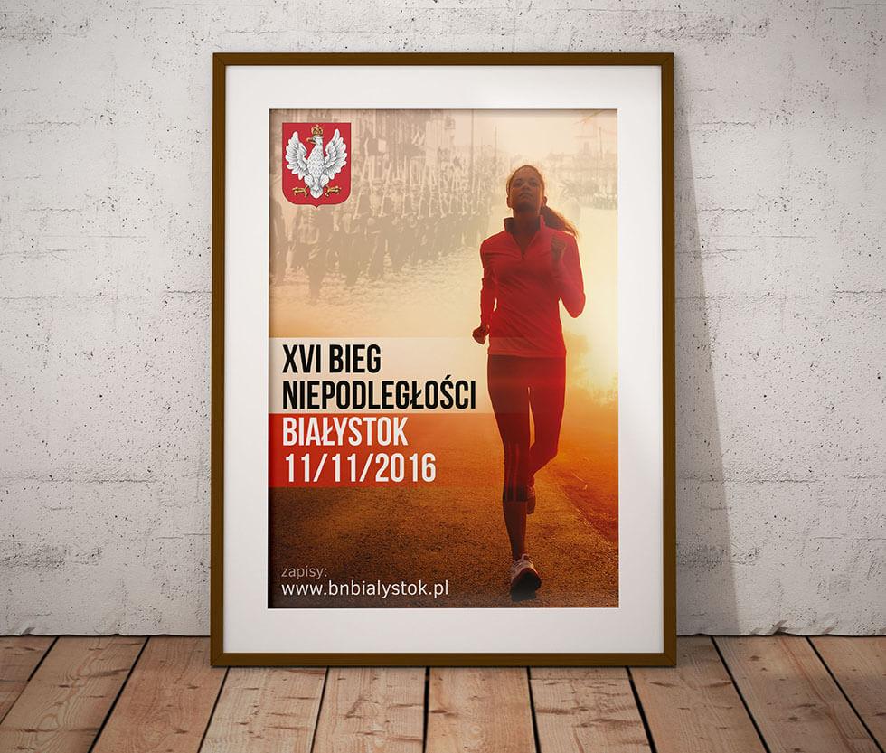 Bieg Niepodległości Projekt plakatu przygotowany na potrzeby XVI Białostockiego Biegu Niepodległości.