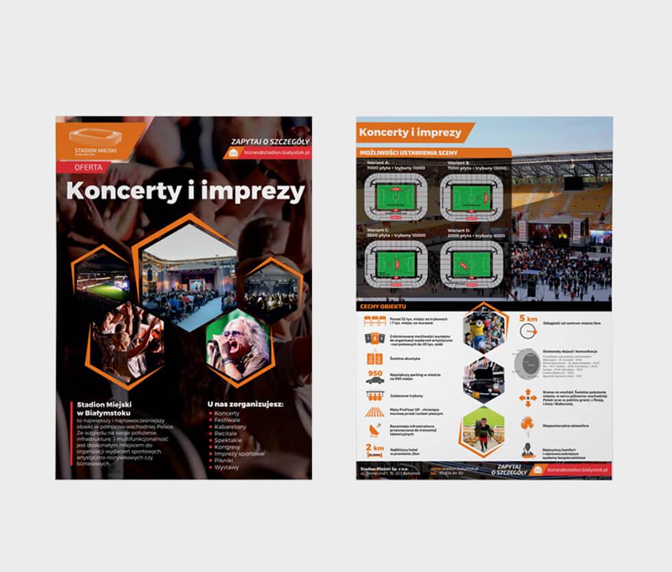 Stadion Miejski w Białymstoku Ulotka prezentująca ofertę organizacyjną koncertów i imprez na Stadionie Miejskim w Białymstoku. Projektowany i drukowany przez nas.
