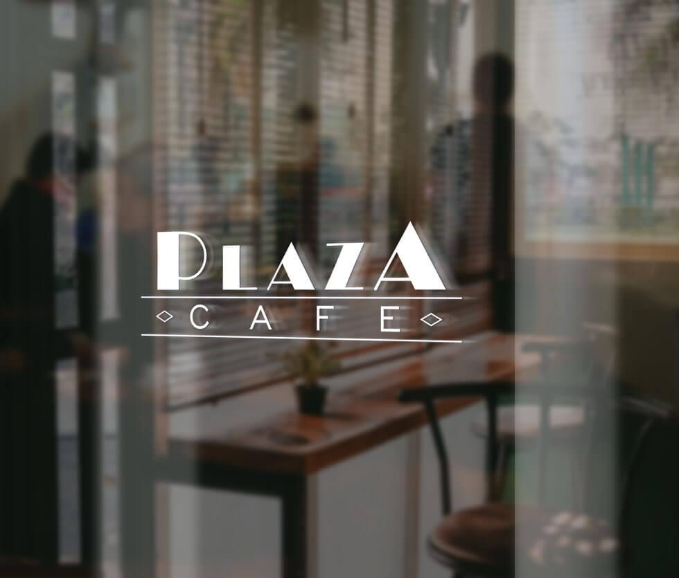 Plaza Cafe Logo przygotowane dla restauracji Plaza Cafe, mieszczącej się w CHR Plaza.