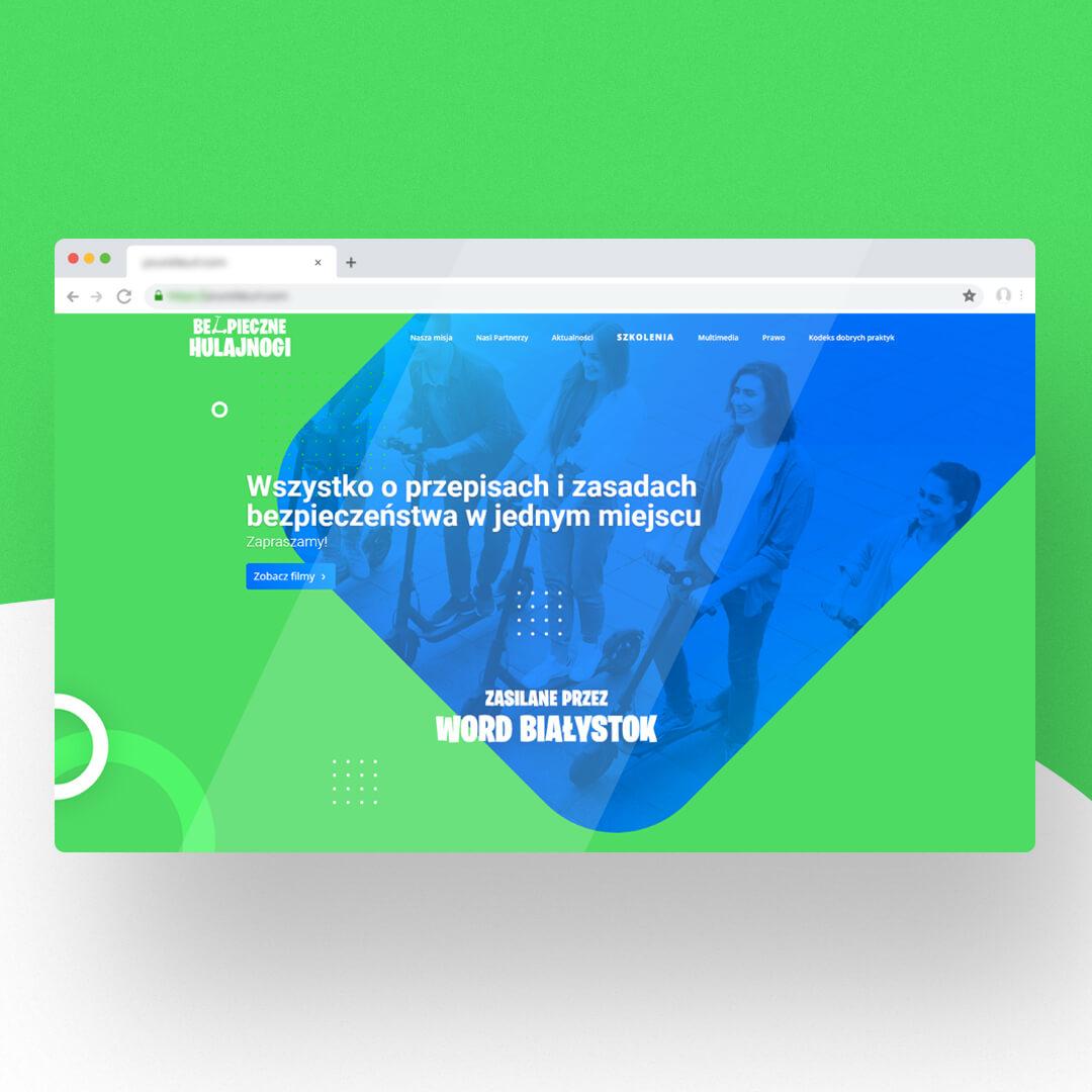 Grafika przedstawia zrzut ekranu przeglądarki internetowej. Widzimy stronę internetową bezpiecznehulajnogi.pl